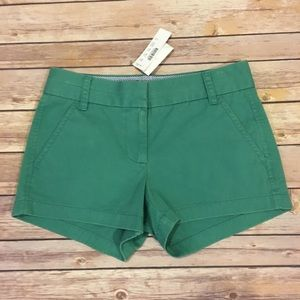 J Crew Green Chino Shorts, Size 00 NWT